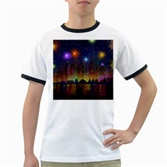 Happy Birthday Independence Day Celebration In New York City Night Fireworks Us Ringer T Shirts