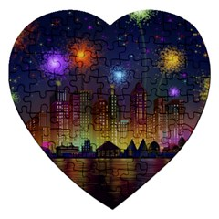 Happy Birthday Independence Day Celebration In New York City Night Fireworks Us Jigsaw Puzzle (heart)