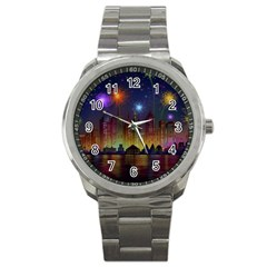 Happy Birthday Independence Day Celebration In New York City Night Fireworks Us Sport Metal Watch