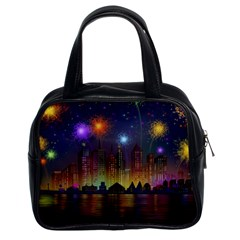Happy Birthday Independence Day Celebration In New York City Night Fireworks Us Classic Handbags (2 Sides)