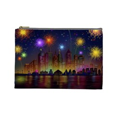 Happy Birthday Independence Day Celebration In New York City Night Fireworks Us Cosmetic Bag (large)