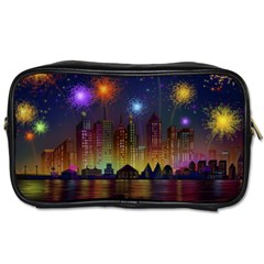Happy Birthday Independence Day Celebration In New York City Night Fireworks Us Toiletries Bags 2 Side