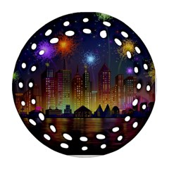 Happy Birthday Independence Day Celebration In New York City Night Fireworks Us Ornament (round Filigree)