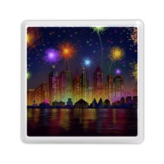 Happy Birthday Independence Day Celebration In New York City Night Fireworks Us Memory Card Reader (square)
