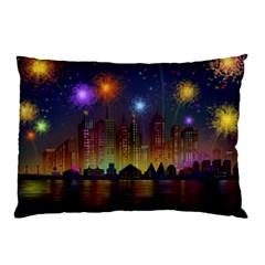 Happy Birthday Independence Day Celebration In New York City Night Fireworks Us Pillow Case (two Sides)