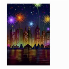 Happy Birthday Independence Day Celebration In New York City Night Fireworks Us Small Garden Flag (two Sides)