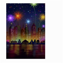 Happy Birthday Independence Day Celebration In New York City Night Fireworks Us Large Garden Flag (two Sides)