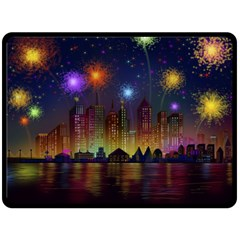 Happy Birthday Independence Day Celebration In New York City Night Fireworks Us Double Sided Fleece Blanket (large)