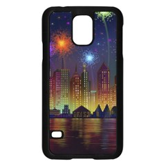 Happy Birthday Independence Day Celebration In New York City Night Fireworks Us Samsung Galaxy S5 Case (black)