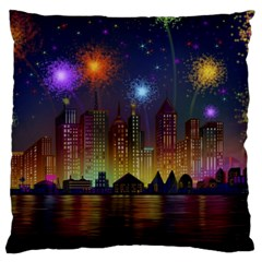 Happy Birthday Independence Day Celebration In New York City Night Fireworks Us Large Flano Cushion Case (two Sides)
