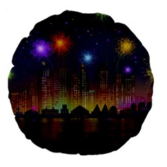 Happy Birthday Independence Day Celebration In New York City Night Fireworks Us Large 18  Premium Flano Round Cushions