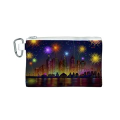 Happy Birthday Independence Day Celebration In New York City Night Fireworks Us Canvas Cosmetic Bag (s)