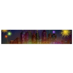 Happy Birthday Independence Day Celebration In New York City Night Fireworks Us Flano Scarf (small)