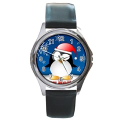 Happy Holidays Christmas Card With Penguin Round Metal Watch