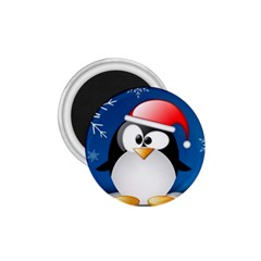 Happy Holidays Christmas Card With Penguin 1 75  Magnets