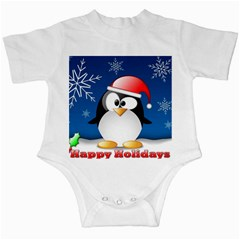 Happy Holidays Christmas Card With Penguin Infant Creepers