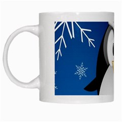 Happy Holidays Christmas Card With Penguin White Mugs