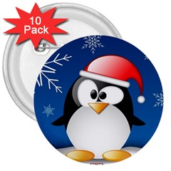 Happy Holidays Christmas Card With Penguin 3  Buttons (10 Pack)