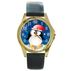 Happy Holidays Christmas Card With Penguin Round Gold Metal Watch