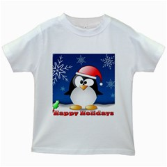 Happy Holidays Christmas Card With Penguin Kids White T Shirts