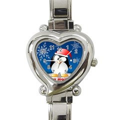 Happy Holidays Christmas Card With Penguin Heart Italian Charm Watch