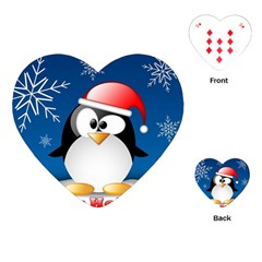 Happy Holidays Christmas Card With Penguin Playing Cards (heart)