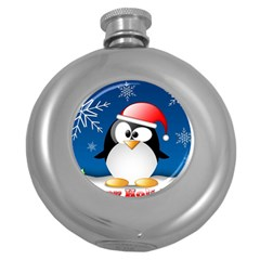 Happy Holidays Christmas Card With Penguin Round Hip Flask (5 Oz)