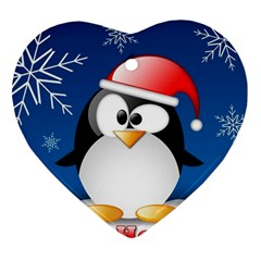 Happy Holidays Christmas Card With Penguin Heart Ornament (two Sides)