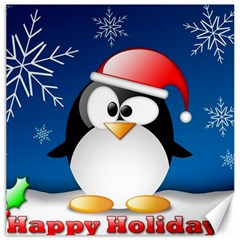 Happy Holidays Christmas Card With Penguin Canvas 12  X 12