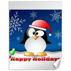 Happy Holidays Christmas Card With Penguin Canvas 12  X 16