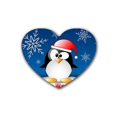 Happy Holidays Christmas Card With Penguin Heart Coaster (4 Pack)