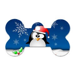 Happy Holidays Christmas Card With Penguin Dog Tag Bone (one Side)