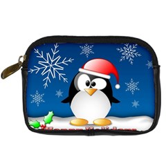 Happy Holidays Christmas Card With Penguin Digital Camera Cases