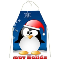 Happy Holidays Christmas Card With Penguin Full Print Aprons