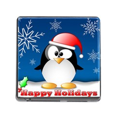 Happy Holidays Christmas Card With Penguin Memory Card Reader (square)