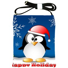 Happy Holidays Christmas Card With Penguin Shoulder Sling Bags