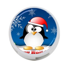 Happy Holidays Christmas Card With Penguin 4 Port Usb Hub (one Side)