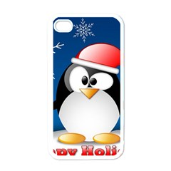 Happy Holidays Christmas Card With Penguin Apple Iphone 4 Case (white)