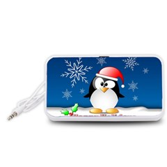Happy Holidays Christmas Card With Penguin Portable Speaker (white)