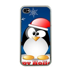 Happy Holidays Christmas Card With Penguin Apple Iphone 4 Case (clear)