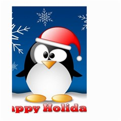 Happy Holidays Christmas Card With Penguin Large Garden Flag (two Sides)