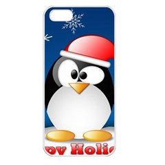Happy Holidays Christmas Card With Penguin Apple Iphone 5 Seamless Case (white)