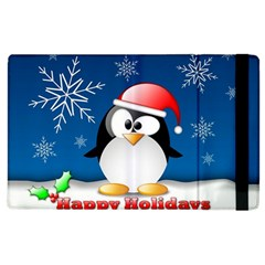 Happy Holidays Christmas Card With Penguin Apple Ipad 3/4 Flip Case