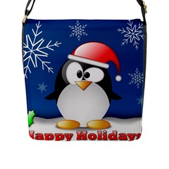 Happy Holidays Christmas Card With Penguin Flap Messenger Bag (l)