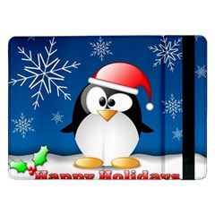 Happy Holidays Christmas Card With Penguin Samsung Galaxy Tab Pro 12 2  Flip Case
