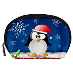 Happy Holidays Christmas Card With Penguin Accessory Pouches (large)