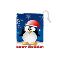 Happy Holidays Christmas Card With Penguin Drawstring Pouches (small)