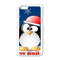 Happy Holidays Christmas Card With Penguin Apple Iphone 6/6s White Enamel Case