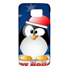 Happy Holidays Christmas Card With Penguin Galaxy S6