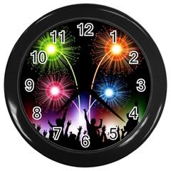 Happy New Year 2017 Celebration Animated 3d Wall Clocks (black)